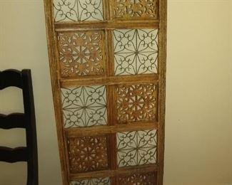 Asian carved boho screen vintage 60's