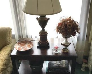 Handsome side table with shelf stretcher and small drawer in apron