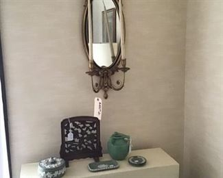 Wedgwood pieces in light green, Chinese carved table screen, and the second wall sconce