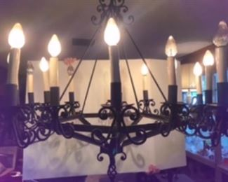 $195 Spanish iron chandelier - black - 1960's - 10 arms, 16 lights