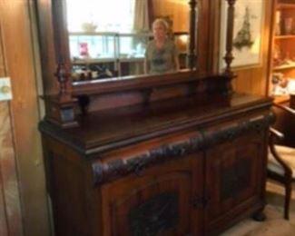 $895 European Art Nouveau sideboard - mahogany