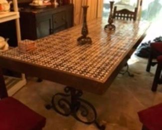 $695 Spanish tile table with iron vase & 6 Spanish chairs