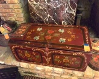 $150 Antique Austrian painted chest for logs and cigarette box