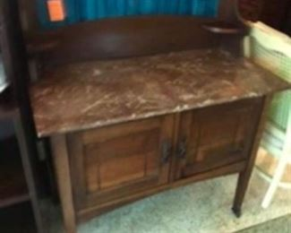 $240 English marble top cabinet & tile back