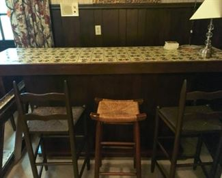 "$295 bar Spanish tile top & 3 stools 83""L x 23 1/2""D x 41 1/2""H"