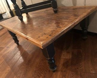 $300 - Rustic pine coffee table/black painted legs; built by European Antique Pine Warehouse locally in Roswell, GA.