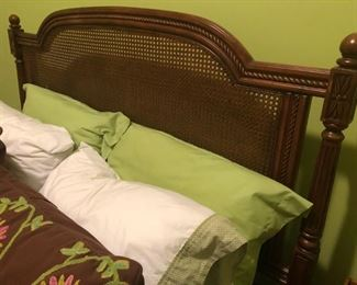 $175 - Trendy queen linens including comforter, dust ruffle, throw pillows and shams.