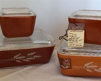 Lot #1 brand new Pyrex Autumn Harvest refrigerator set of four, $120