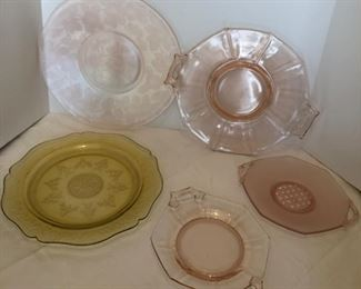 Lot #4 collection of 5 depression glass trays, chips in following photos, $14/all