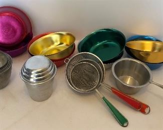Lot # 11 interesting lot of metal kitchen items, $24/all