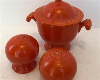 Lot #21 vintage fiesta S & P with sugar bowl, tiny chip on top of sugar bowl, $28 for the combo
