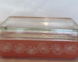 Lot #26 new, covered pink daisy Pyrex, $22