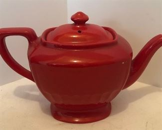Lot #38, Hall's teapot, red, couple tiny spots where the red paint is missing, $10