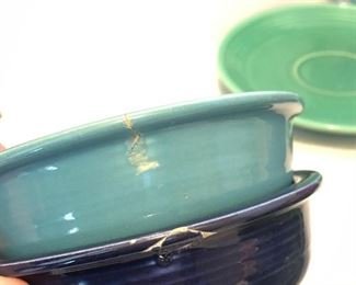 Repaired small blue bowl and other repair to the turquoise one.