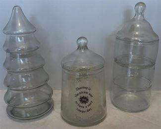 Lot #53, Three glass containers, $12