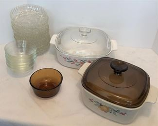 Lot #55, Two covered casseroles and many little bowls, happy little family, $22