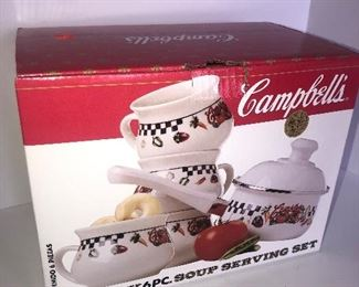Lot #109, New Campbell soup set, $16