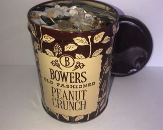 Lot #125, Peanut crunch tin filled with buttons, $12