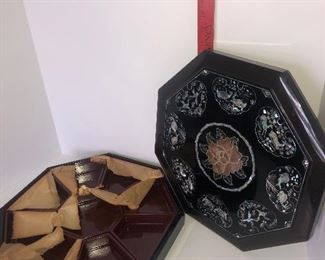 Lot #138, Large lacquered with mother of pearl divided tray with lid, new, $34