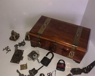 Lot #154, Cedar box with locks and such, $18/all