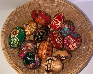 Lot #157, Basket of hand painted and carved wood eggs, $32/all