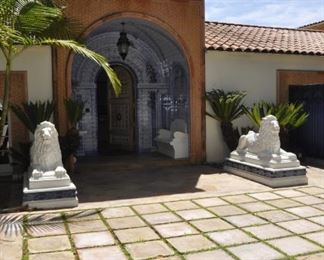 LIONS ARE NOT FOR SALE.  THIS IS THE ENTRANCE TO THE RESIDENCE.