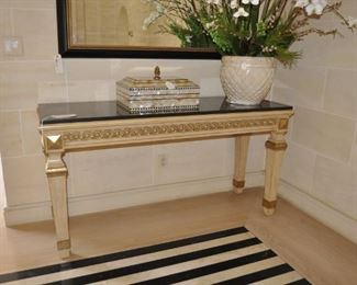 5 FEET 5 INCH - ABSOLUTE BLACK MARBLE TOP CONSOLE TABLE AND MIRROR