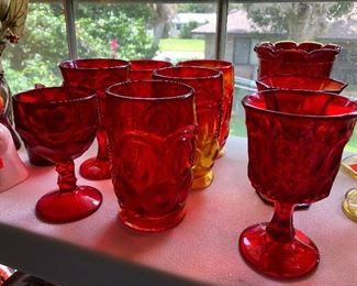 AMBERINA GLASS & RUBY RED GLASS
