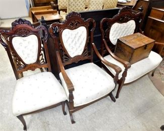 3 piece set, Victorian, hand carved, 19th C.