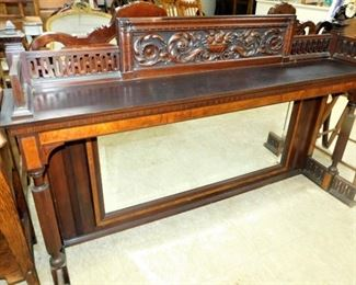 hand made fireplace mantel, near mint with mirror, scrollwork, hand carved, wow