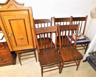 I believe these 6 chairs (and there's another one) are rosewood. Wood grain is stunning. The cabinet appears to be 19th C. all custom.
