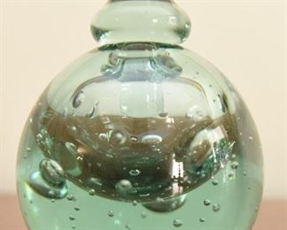 """5. MMA Green Glass Perfume Bottle $30 Excellent condition. No chips or cracks. 4.5"""" tall, 3.5"""" diameter"""