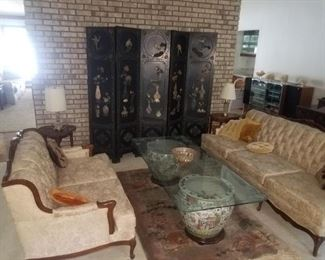 Asian themed living room furniture, screen, porcelain & etched glass table top