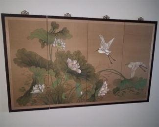 Beautiful silk four panel wall screen