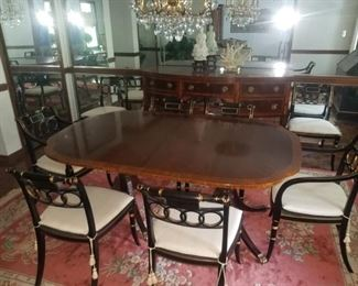 """Beautiful Baker furniture, """"Historic Charleston"""" dining room table, chairs, sideboard. This item is available for pre-sale. Contact if interested. Asking price $3800.00 / offer  - will break up set closer to sale if not sold together."""