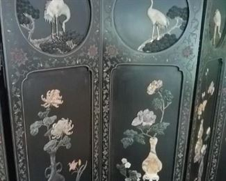 Nicest wall screen, room divider I can remember us selling. Black lacquer and mother of pearly inlay. Available for pre-sale @ $395