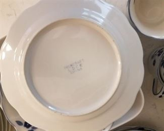 Large set of Folkcraft blue & white dinnerware