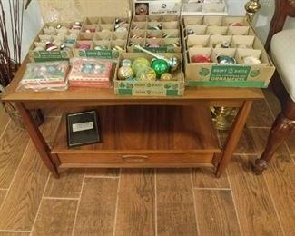 Shiny Brite ornaments & Heritage Mid Century walnut table.
