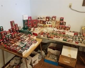 HUGE assortment of Christmas decor, ornaments, bells, eggs and more. Hummel, Lenox, etc..