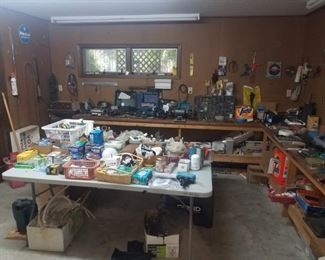 Shop full of misc tools, hardware, materials