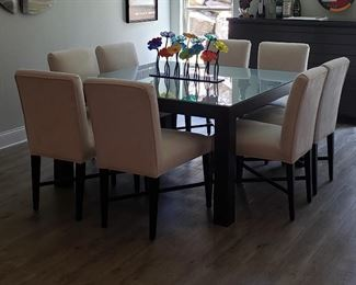 Dining table wood/tempered glass