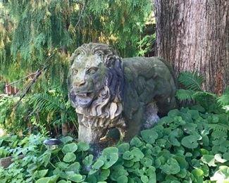 Vintage life size concrete garden lion