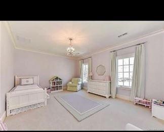 Bed, Dresser, Rug, Green Glider Chair