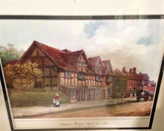 Framed art of Shakespeare's birthplace (Stratford-upon-Avon)