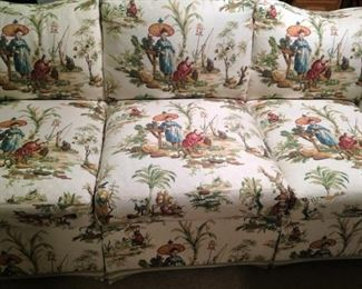 Asian print 3-cushion sofa