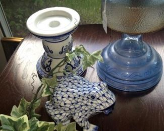 Blue oil lamp; blue & white frog and candle holder