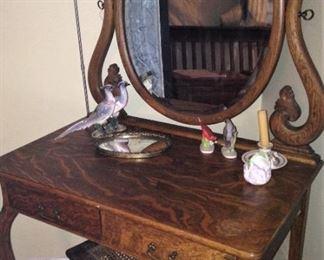 Antique vanity; antique vanity bench