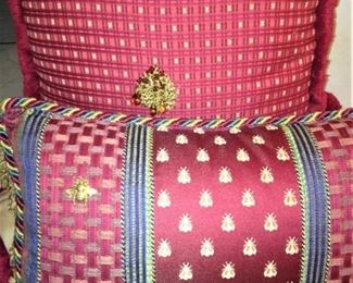 Custom pillows with bee fabric  (The Bee was used in Napoleon's court as a symbol.)