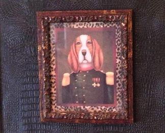 One of several framed dog pictures