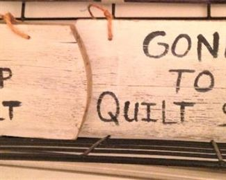 Cute quilting-related signs